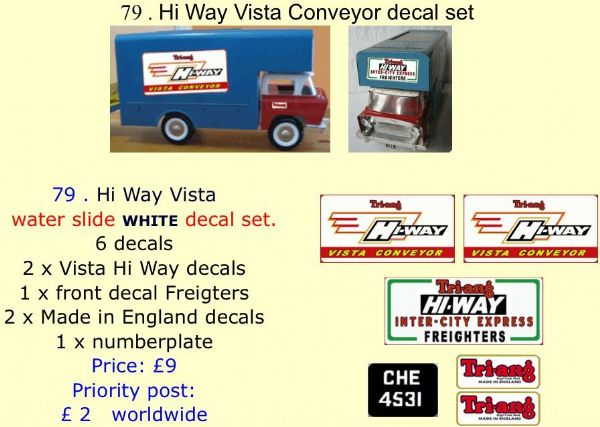 79 . Tri-ang Hi Way Vista Conveyor decal set